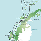 Route Map - Antarctic Peninsula – Polar Circle, Deep South Discovery and whale watching voyage