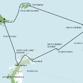 Route Map - Falkland Islands - South Georgia - Antarctic Peninsula